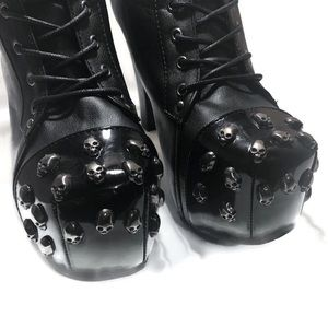 Skull Toe Design Lace-up Heeled Bootes Size 9